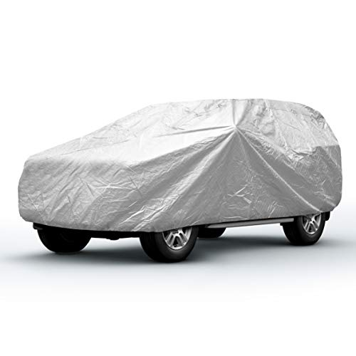 Sojoy Thick Multi-Layered SUV Car Cover , in All-Weather(Hail/Rain/Snow/Heat) Waterproof/Dust Proof/Scratch Proof UV Protection Full Cover 187'-225' (XXL+)