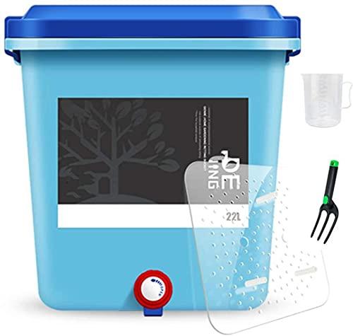 22L kompost hink för bänkskivor, köksspolning kan bin med lock, inomhus hem kompostbehållare med kran, filterplatta, blandning spade,Blue