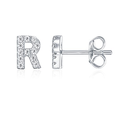PAVOI 925 Sterling Silver CZ Simulated Diamond Stud Earrings Fashion Alphabet Letter Initial Earrings - R