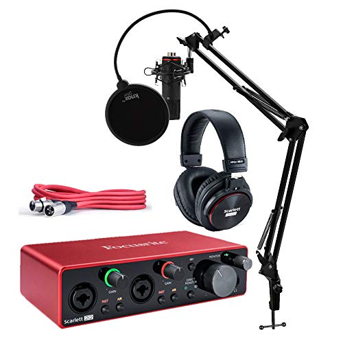 Focusrite Scarlett 2i2 Studio 3. Generation 2x2 USB Audio Interface Bundle mit Kopfhörern, XLR-Kabel, Knox Studio Ständer, Shock Mount und Popfilter (4 Stück)