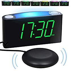 Loud Vibrating Alarm Clock with Super Bed Shaker for Heavy Sleepers Deaf Hard of Hearing Elderly Kids, Bedroom Home, Digital Plug-in Clock,Night Light, 7'' Large Display & Full Dimmer,USB Ports,12/24H