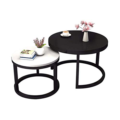 ZXNRTU Space Saving Coffee Table   Round Tea End Side Table Cocktail Table   Wooden Table Top & Metal Frame Legs   for Living Room Home Office Furniture