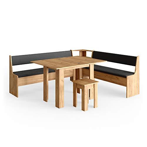 Vicco Eckbankgruppe Roman Esszimmergruppe Eckbank Sitzgruppe Tisch Hocker (GoldCraft Eiche, 210x180cm)