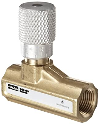 "Parker 003381102 338 Series Brass Needle Valve, 3/8"" NPTF, 250 psi from Parker"
