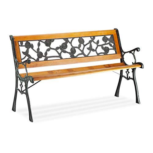 Relaxdays Gartenbank, 2-Sitzer, mit Rosen-Ornamenten, Outdoor, Terrasse, Balkon, Parkbank HxBxT 73 x 125 x 52 cm, natur