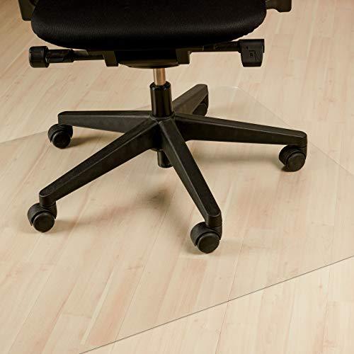 Relaxdays vloerbeschermingsmat bureaustoel, 90 x 120 cm, PVC vloeronderlegger laminaat, parket, tapijt, antislip, transparant