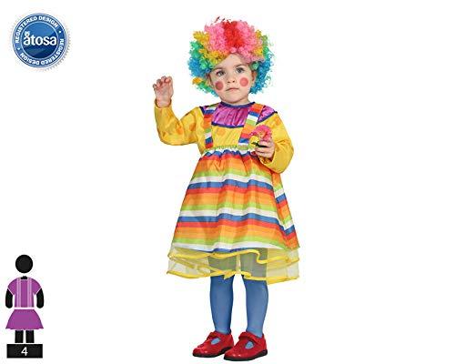 Atosa-27845 Disfraz Payasa, Multicolor, 6 a 12 Meses (27845)