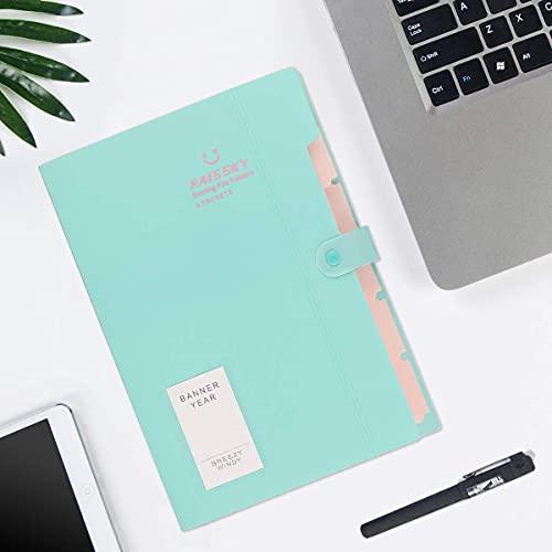 Expanding File Folder 6 Pockets, Guzack Accordion Document Folder Organizer A4 Letter Paper File Organizer Pockets, Expandable Files Folders with Buckle Closure for School Office Home ( Green ) Photo #7