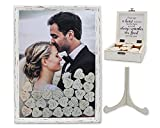 PMPX Wedding Guest Book Alternative Vintage Drop Top Frame with Stand, 80 Wood Hearts, Matching Box with Message Inside The Lid. Weddings, Bridal or Baby Shower, Anniversary, or Special Event.