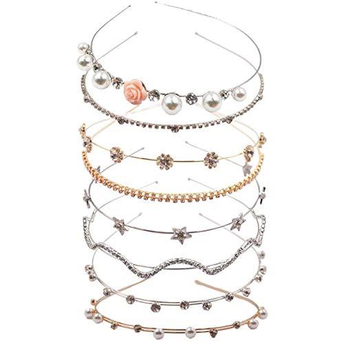 8PCS Crystal Headband Pearls Flower Hairbands Jewelry Rhinestone Fashion...