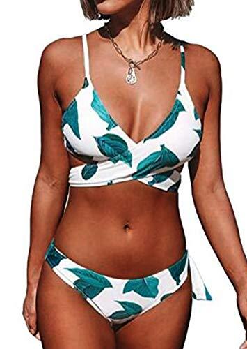 CheChury Donna Bikini Costumi da Bagno Vita Media Due Pezzi Bikini Imbottito Halter Regolabile Cross Costumi Mare con Motivo a Foglie Brasiliano Beachwear