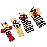 Juguete brillante para colgar calcetines para bebés, calcetines suaves para bebés, calcetines suaves para bebés, calcetines para bebés, juguetes(A set of butterfly ladybug socks wrist 02)