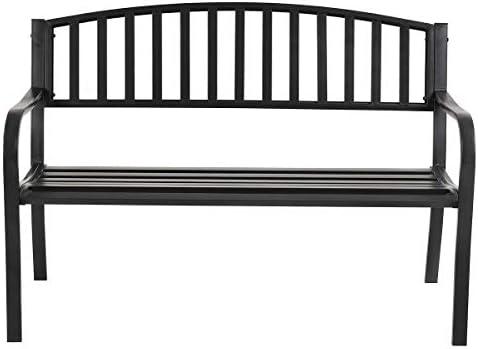 Best Black Metal Garden Bench Outdoor Patio Loveseat Backrest Stool Steel Slats Seat with Ebook
