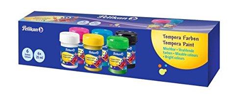 Pelikan Témpera lista para usar, óptima para niños, frasco de 6 colores, 25 ml, resellable, color opaco, para diluir sin el uso de agua, adecuado para jardín de infantes, trabajos elementales - 804882 🔥