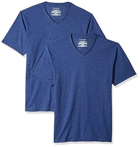 Amazon Essentials – Camiseta con cuello en V para hombre (2 unidades), Azul (Navy Heather Nav), US S (EU S)
