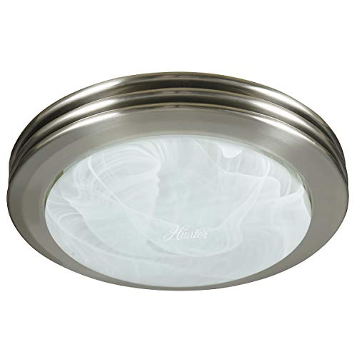 Hunter 90053 Saturn Decorative Bathroom Ventilation Fan with Light in Brushed Nickel