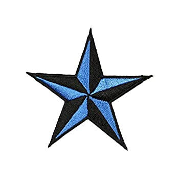 3 INCH Blue Black Nautical Star Patch Tattoo Symbol Embroidered Iron On Applique
