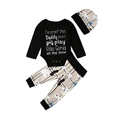 Newborn Baby Boys Cute Clothes Long Sleeve Funny Letter Romper Bodysuits Long Pants Hat 3Pcs Fall Outfits Set (Black, 3-6 Months)