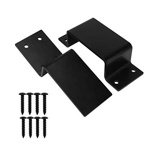 Heavy Duty Door Barricade Brackets Door Security Bar Holder Brackets Fit for 2 X 4's Lumber for Door Reinforcement (1 Pair 2 Pieces with 8 Screws) (1 Open+1 Close Bar Holder)