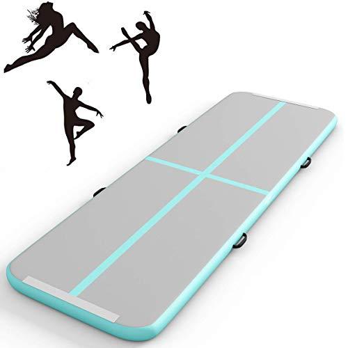 Fnova Air Floor Track Tumbling Mat, Inflatable Gymnastics Mat 3M/4M or Yoga/Gym/Training/Tumbling/Home/Outdoor Fitness Use (4M, Light Green)