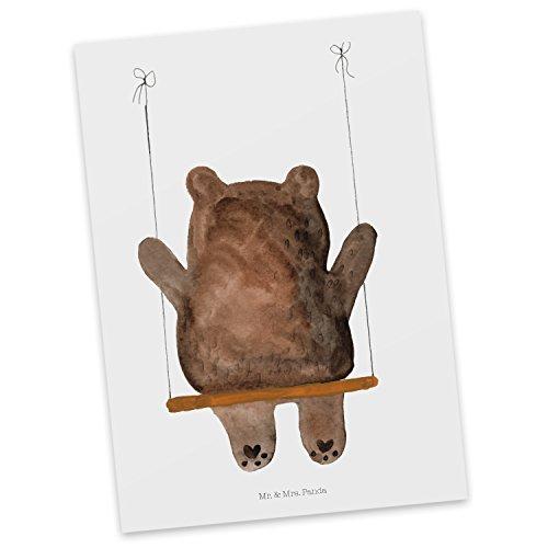 Mr. & Mrs. Panda Ansichtskarte, Einladung, Postkarte Bär Schaukel - Farbe Weiß