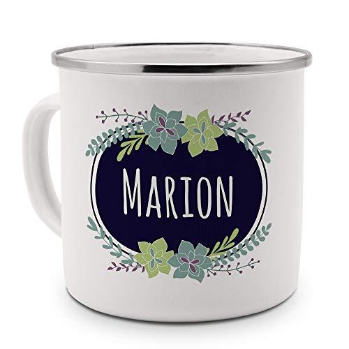 printplanet Emaille-Tasse mit Namen Marion - Metallbecher mit Design Flowers - Nostalgie-Becher, Camping-Tasse, Blechtasse, Farbe Silber