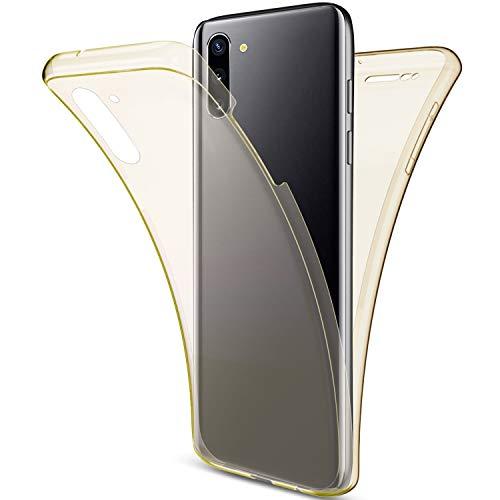 Uposao Kompatibel mit Samsung Galaxy Note 10 Hülle 360° Full Body Cover Soft Hülle Rundum Handyhülle Doppel-Schutz Hülle Vorne Hinten Silikon Transparent Dünne Durchsichtig Schutzhülle,Gold