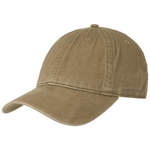 Stetson Ducor Sun Guard Fullcap Herren - Baseballcap aus Bio-Baumwolle (nachhaltig) - Frühjahr/Sommer - Cap mit Sonnenschutz UV 40+ - Basecap Stonewashed-Look - Outdoorcap Oliv L (58-59 cm)