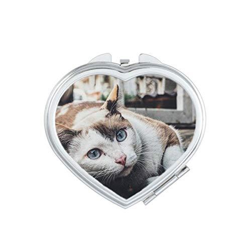 DIYthinker Photo Big Ear Cat Animal Pousse Coeur Compact Miroir de Maquillage Portable Mignon Miroirs de Poche à la Main Cadeau Multicolor