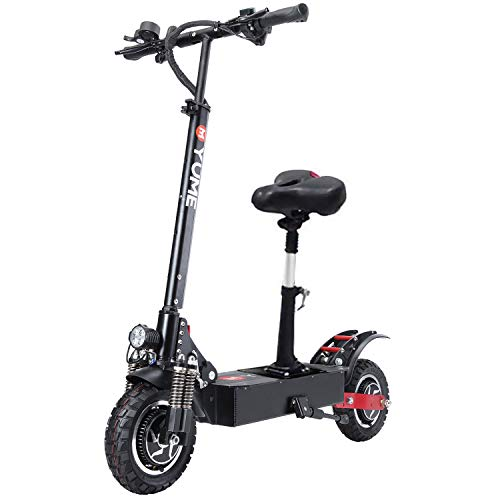 [USA Warehouse] YUME D5 Electric Scooter for Adult Dual Motors 23.4AH Battery 52V 2400W up to 40 MPH 40 Miles Foldable Sports Scooter 10' Off Road Tires 330lbs Max Loading with Removable Seat
