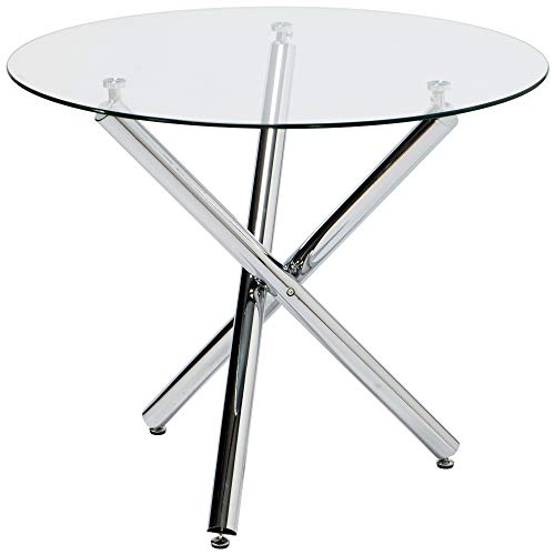 Round Glass Dining Table with Chrome Legs for 2 or 4 Seats Home Office Kitchen Dining Room Table Furniture 35.4 x 29.5inch (3 Leg Glass Table)