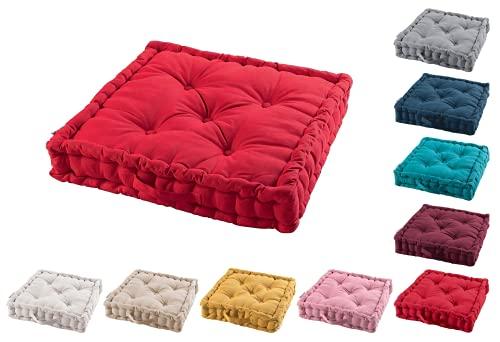 TIENDAEURASIA® Cojines de Suelo - 100% Algodón Lisa - Ideal para sillas, Bancos, palets, Suelos - Uso Interior y Exterior (Rojo, 60 x 60 x 10 cm)