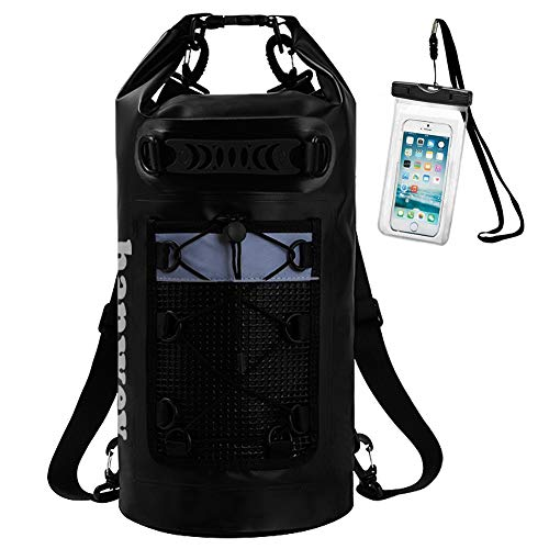 unbrand Floating Waterproof Dry Bag Sack 20L 30L Roll Top Dry Backpack Keeps Gear Dry for Kayaking, Beach, Rafting, Boating, Hiking, Camping and Fishing with Waterproof Phone Case (Black)
