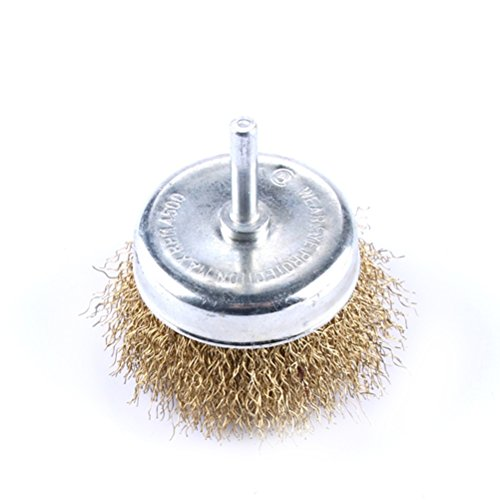 Brosse métallique ronde à tige Ueetek de 7,5 cm de diamètre avec des poils en acier ondulé, s'adapte aux perceuses les plus puissantes pour nettoyer et frotter les surfaces