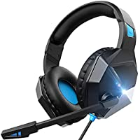 Pahasur Wired On-Ear Gaming Headphone with Microphone,Noise Cancelling, LED, Soft Earmuffs (Blue)