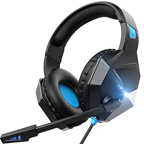 On-Ear Headphone Gaming Headset for PS4,PS5, PC, Xbox One,Switch -Surround Sound Headset with Microphone,Noise Cancelling,LED,Soft Earmuffs, Kids Headphones for Boys (Blue)