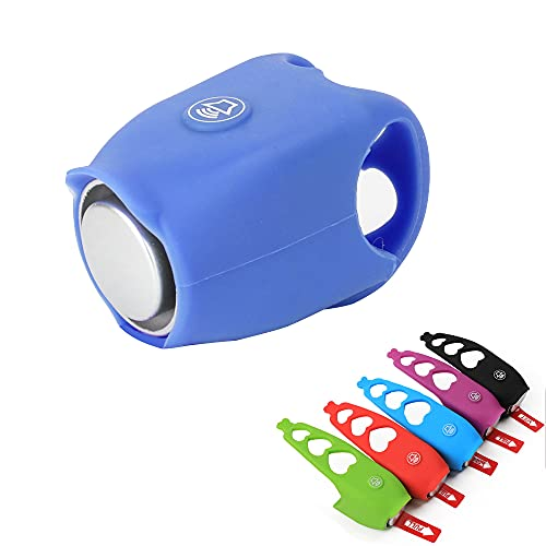 DSXH Bike Bell, 120 DB Bicycle Bell Mountain Bike Electric Horn - 2021 Super Bike Horn, Waterproof Silicone Bike Bell for Adults and Kids (Blue)