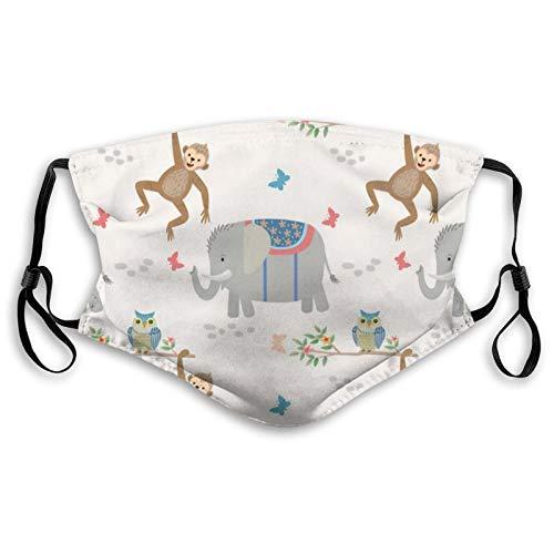 Lindo elefante mono y búho bandanas máscara UV protectio cuello polaina diadema bloque polvo pasamontañas