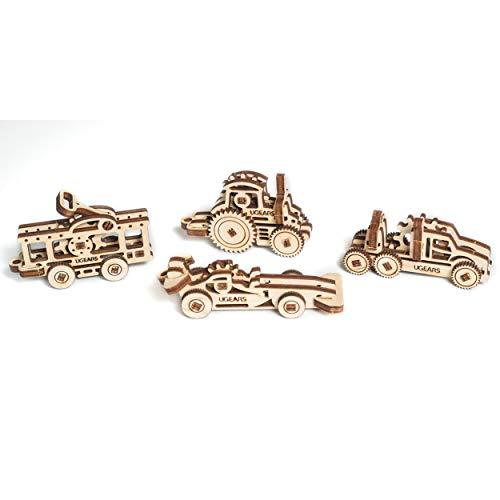 UGEARS vehicle tribiks 70033 U-Fidgets Fahrzeuge Puzzleteile-Set mit 4 Modellen-Anti-Stress-3D-Puzzle-Selbstbausatz-4 Mini Miniaturmodell-Mechanische Modelle-Sperrholzbaukasten, beige
