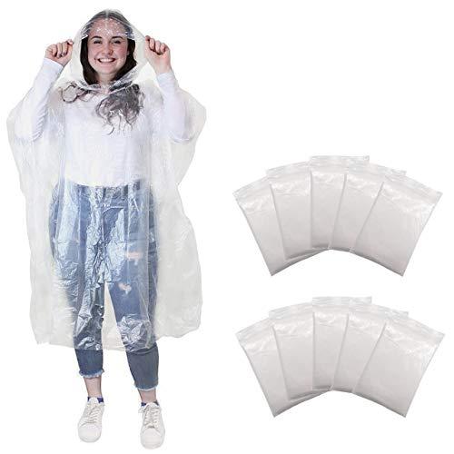 Regenponcho Regencape Regenmäntel mit Kapuze - Regen Poncho für Damen, Herren und Kinder - Transparent, Einweg und Wasserdicht für Festival, Konzert, Camping, Fahrrad, Wandern - 10 PACK