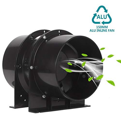 HG Power Abluftventilator 150mm Axial Rohrventilator Kanalventilator Metall Stark Inline-Lüfter Einschublüfter Absaug Rohrlüfter 323 m³/h Abluft Zuluft Ventilator Leise für Gehäuse Industrie etc