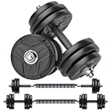 RUNWE Adjustable Dumbbells Set, Weights Dumbbells Barbell Weight Free Weight Set 40/60/80/100 lbs Exercise Fitness Weight Sets, Workout Strength Training with Connecting Rod for Home Gym Office