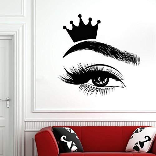 wopiaol Eyelash Wall Decals Eyelashes Window Vinyl Sticker Beauty Salon Woman Lashes Eyebrows Brows Art Interior Decor Crown Mural