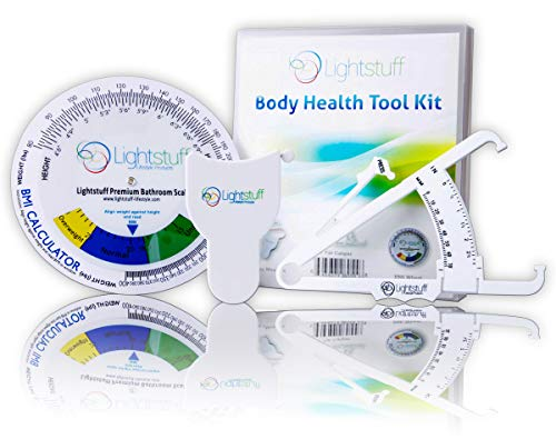 Lightstuff Body Health Tool Kit - Body Fat Caliper, Body Tape Measure, BMI Calculator - Instructions for Skinfold Caliper and Body Fat Charts for Men and Women