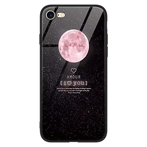 Yoedge iPhone 8 Plus Cover, [Ultra Sottile] Antiurto con Modello Disegni Custodia in Vetro Temperato [Morbido TPU Bordo in Silicone] Bumper Case Protettiva per Apple iPhone 7 Plus / 8 Plus, Luna Rosa
