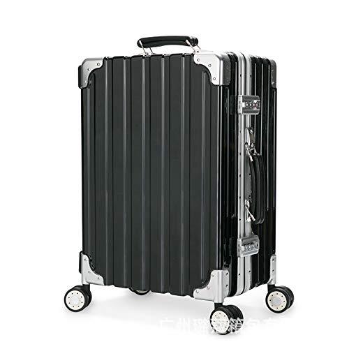 GXHGRASS Reise-Make-up-Trolley, Mehrzweckbox, Double Lock-Design, Verstellbarer Hebel, 35,5 * 24 * 56 cm, Schwarz