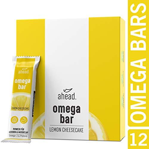 ahead OMEGA BAR 12er Box Energieriegel mit DHA Omega-3 für die Gehirnleistung¹ – Proteinriegel mit Hafer und Whey-Protein für Alltagshelden und Athleten – Lemon Cheesecake, 12er Pack (12x50g)