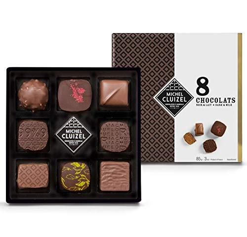Michel Cluizel Gift Box 8 Factory Pralines Chocolate negro y con leche - 1 x 85 Gramos