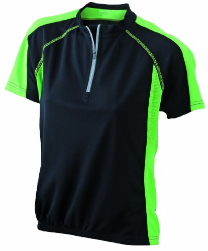James & Nicholson Damen T-Shirt Bike T-shirt X-Large black/lime-green