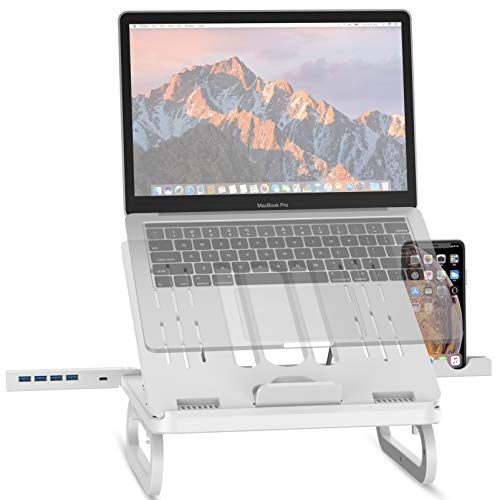 Laptop Stands, OVOOR Adjustable Laptop Stand Laptop Holder with Docking Station & Phone Holder Ergonomic Keyboard Tray LaptopHolder with Heat-Vent to Elevate and Adjustable Laptop